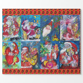 SANTA ,MUSICAL CHRISTMAS NIGHT PARTY WRAPPING PAPER