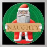 Santa - Naughty Sign Poster