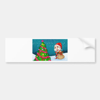 Santa near the big christmas tree bumper sticker
