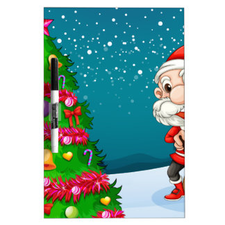 Santa near the big christmas tree Dry-Erase board
