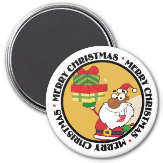 Santa negro con los regalos imán redondo 7 cm
