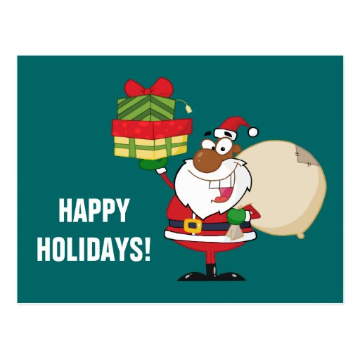 Santa negro con los regalos postales