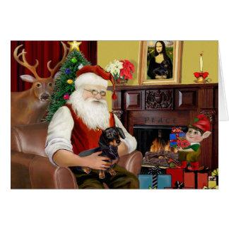 Santa negro/Dachshund del moreno (#16) Tarjeta De Felicitación