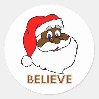 Santa negro pegatina redonda
