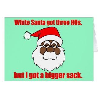 Santa negro tiene un saco más grande tarjeta de felicitación