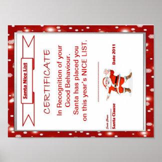 Santa Nice List Certificate Poster