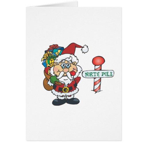Santa North Pole Greeting Cards