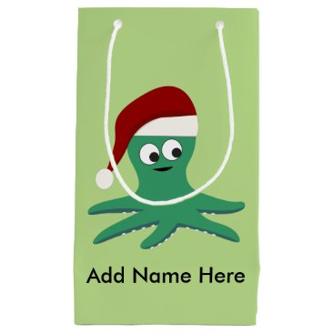 Christmas Themed Santa Octopus Small Gift Bag