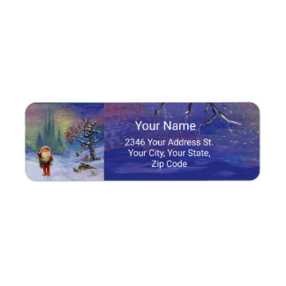 SANTA OF THE GNOMES Blue Christmas Label