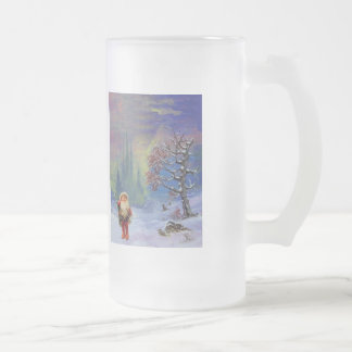 SANTA OF THE GNOMES FROSTED GLASS BEER MUG
