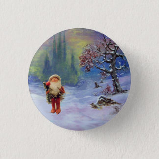 SANTA OF THE GNOMES Funny Christmas Pinback Button