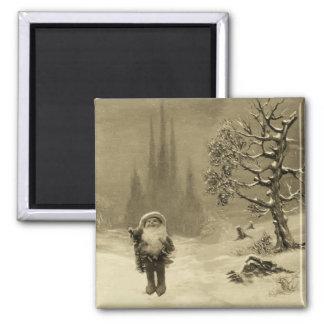 SANTA OF THE GNOMES Funny Christmas Sepia Brown Magnet