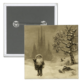 SANTA OF THE GNOMES Funny Christmas Sepia Brown Pinback Button