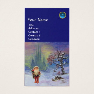 SANTA  OF THE GNOMES MONOGRAM Blue Sapphire Business Card