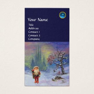 SANTA  OF THE GNOMES MONOGRAM Blue Sapphire Business Card