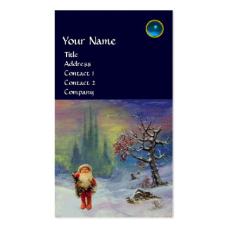 SANTA  OF THE GNOMES MONOGRAM Blue Sapphire Double-Sided Standard Business Cards (Pack Of 100)