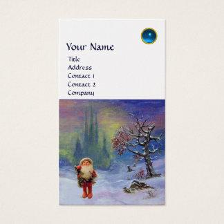 SANTA  OF THE GNOMES MONOGRAM  Blue Sapphire Gold Business Card