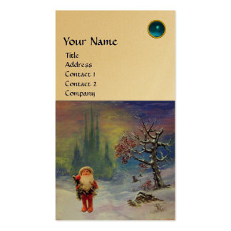 SANTA  OF THE GNOMES MONOGRAM  Blue Sapphire Gold Double-Sided Standard Business Cards (Pack Of 100)