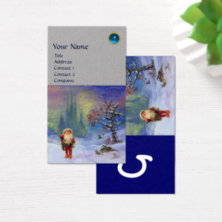 SANTA  OF THE GNOMES MONOGRAM Blue Sapphire Grey Business Card
