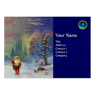 SANTA  OF THE GNOMES MONOGRAM Blue Sapphire Large Business Cards (Pack Of 100)