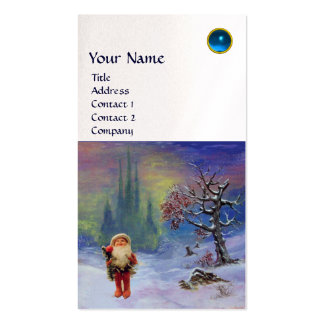 SANTA  OF THE GNOMES MONOGRAM Blue Sapphire Pearl Double-Sided Standard Business Cards (Pack Of 100)
