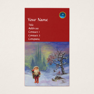 SANTA  OF THE GNOMES MONOGRAM Blue Sapphire Red Business Card