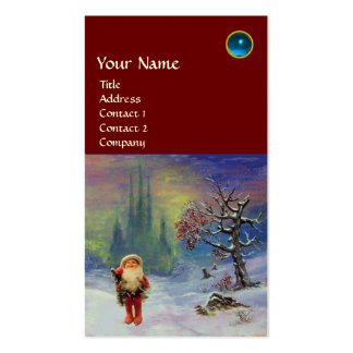 SANTA  OF THE GNOMES MONOGRAM Blue Sapphire Red Double-Sided Standard Business Cards (Pack Of 100)