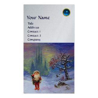 SANTA  OF THE GNOMES MONOGRAM Blue Sapphire Silver Double-Sided Standard Business Cards (Pack Of 100)