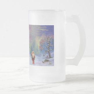 SANTA OF THE GNOMES 16 OZ FROSTED GLASS BEER MUG