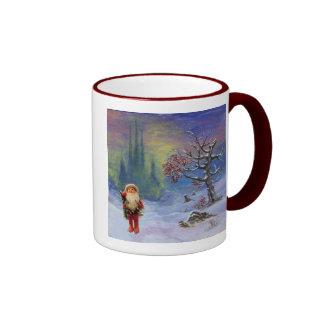 SANTA OF THE GNOMES RINGER COFFEE MUG
