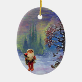 SANTA OF THE GNOMES, RED RUBY AND BLUE SAPPHIRE CERAMIC ORNAMENT