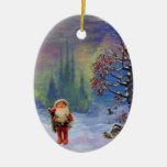 SANTA OF THE GNOMES, RED RUBY AND BLUE SAPPHIRE CHRISTMAS ORNAMENTS