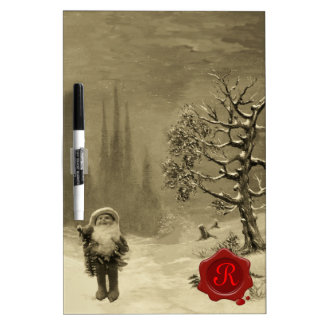 SANTA OF THE GNOMES RED WAX SEAL  Monogram Dry Erase Whiteboards