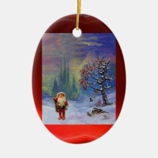 SANTA OF THE GNOMES WITH RED RUBY CERAMIC ORNAMENT