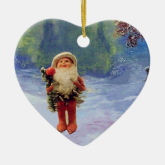 SANTA OF THE GNOMES WITH RED RUBY HEART CERAMIC ORNAMENT
