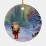 SANTA OF THE GNOMES WITH RED RUBY CHRISTMAS ORNAMENTS