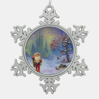 SANTA OF THE GNOMS SNOWFLAKE PEWTER CHRISTMAS ORNAMENT