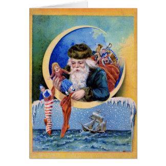 SANTA OF THE SAILORS,MOON,CHRISTMAS SOCKS AND TOYS CARD