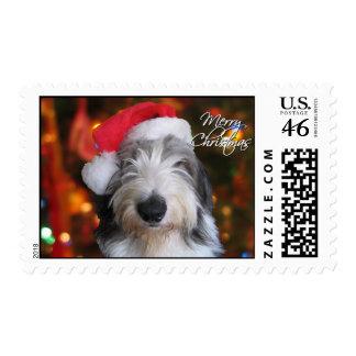 Santa Old English Sheepdog Christmas Postage Stamp
