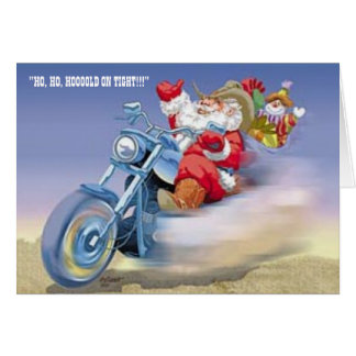 Santa on a Harley Card