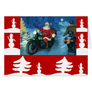 Santa on a Harley christmas card