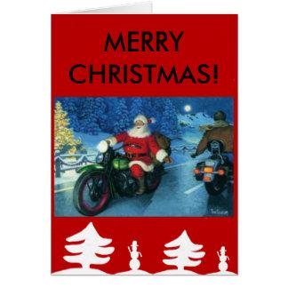 Santa on a Harley Christmas card