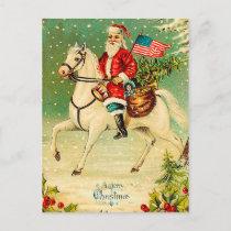 Santa on a Horse Vintage Christmas Postcard