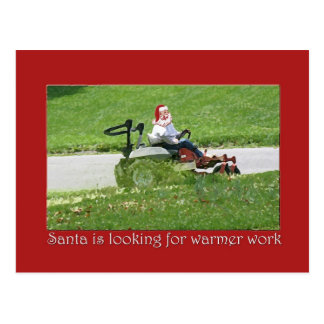 Santa on a lawnmower Holiday Customer Appreciation Postcard