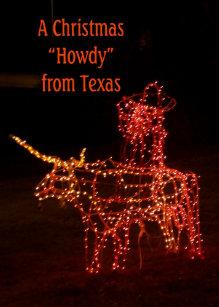 santa on a longhorn texas christmas greeting card