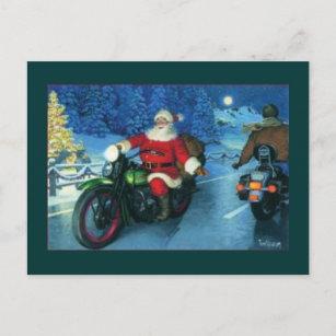 Motorcycle Usa, Christmas Post Cards 2020, Santa And Motorcyle Motorcycle Christmas Cards | Zazzle
