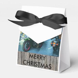 Santa on a motorcycle christmas gift box