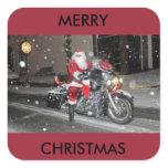Santa on a motorcycle christmas sticker
