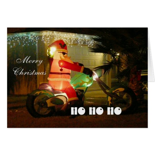 Santa on a Motorcycle Coming to Town Card