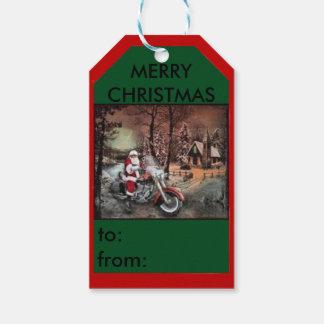 Santa on a motorcycle farm scene gift tag